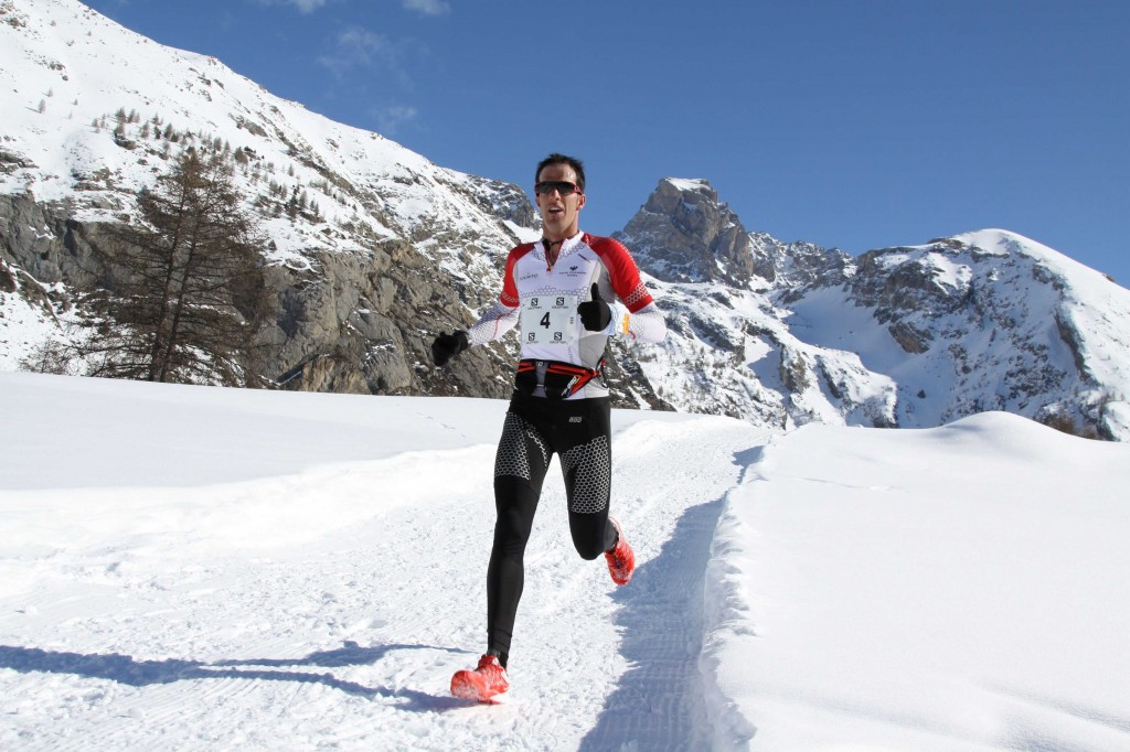 1 Michel Lanne  1er  22 km Snow trail Ubaye Salomon 2013 photo Robert Goin