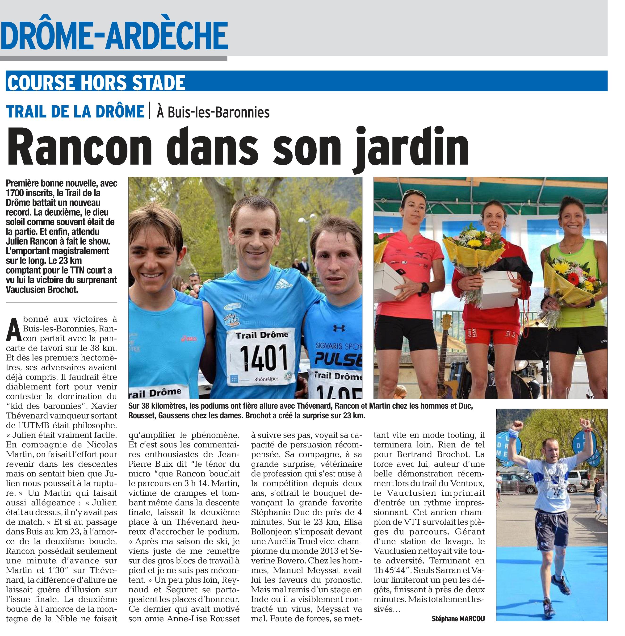 PDF Page 36 edition de romans et drome des collines 20140414 - Résultats et vidéo du trail de la Drôme (Buis-les-baronnies).Article du Dauphiné.