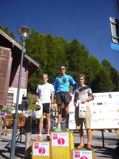 Podium Elite du KV : Xavier Gachet, Marti Werner et Baptiste Spicher (ne figure pas Rémi Bonnet, vainqueur Junior et 2ème au scratch).