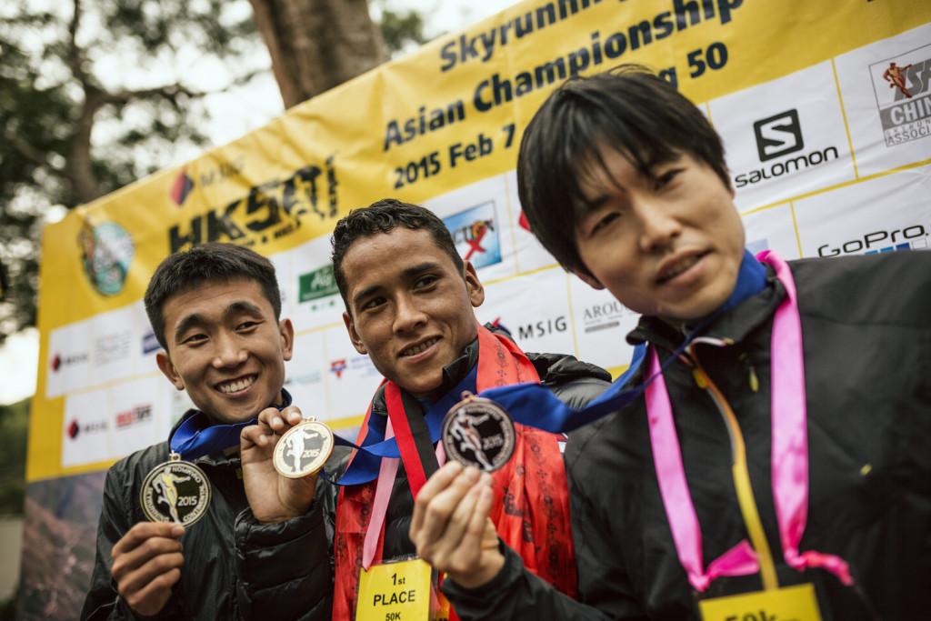 Le podium masculin du 50 km © Jordi Saragossa