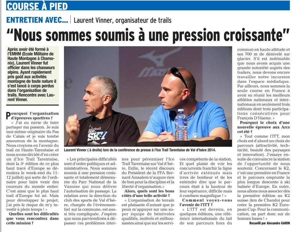 PDF Page 27 edition de tarentaise 201505083 1024x782 - Entretien avec Laurent Vinner (organisateur de l' Ice Trail Tarentaise Mizuno) , Article du Dauphiné du 8 mai 2015 (par Alexandre Garin)