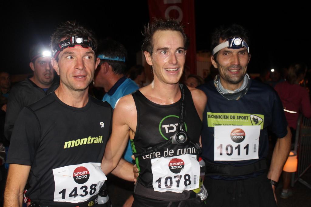 les 3 premiers hommes du 21km après larrivée 1024x682 - TRAIL « LA CHAMBERIENNE » : ROBIN CATTET A EU CHAUD ! Résultats, compte rendu et photos (reportage « TPS Infos » d'Alexandre Garin) / 24-10-15