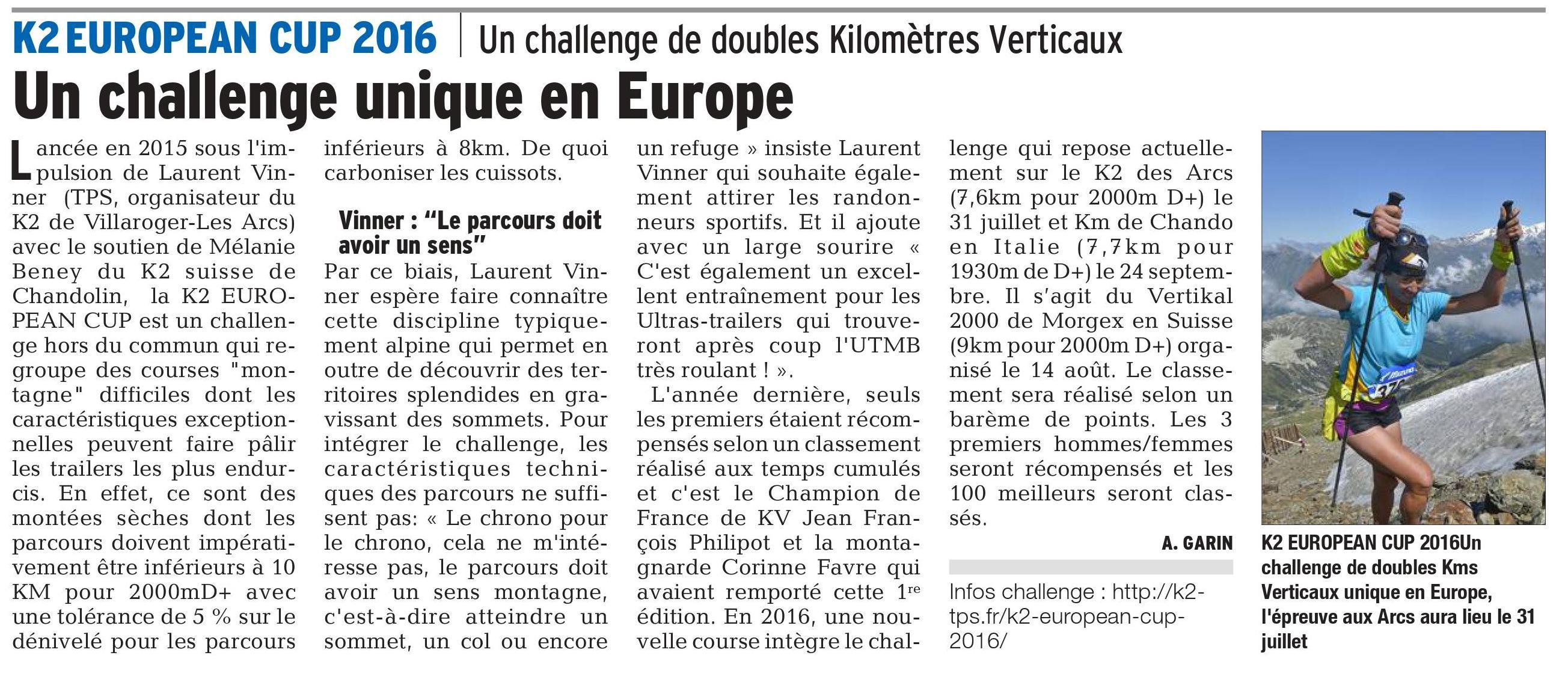 K2 EUROPEAN CUP - PRESENTATION DU K2 DE VILLAROGER - LES ARCS ET DE LA K2 EUROPEAN CUP 2016