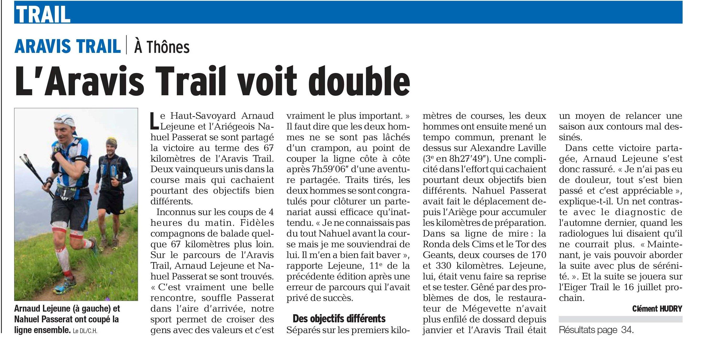 """PDF Page 35 edition d annecy et rumilly 20160626 - LA VIDEO """"NO COMMENT"""" DE L' ARAVIS TRAIL 2016.LES RESULTATS ET L' ARTICLE DU DAUPHINE LIBERE."""
