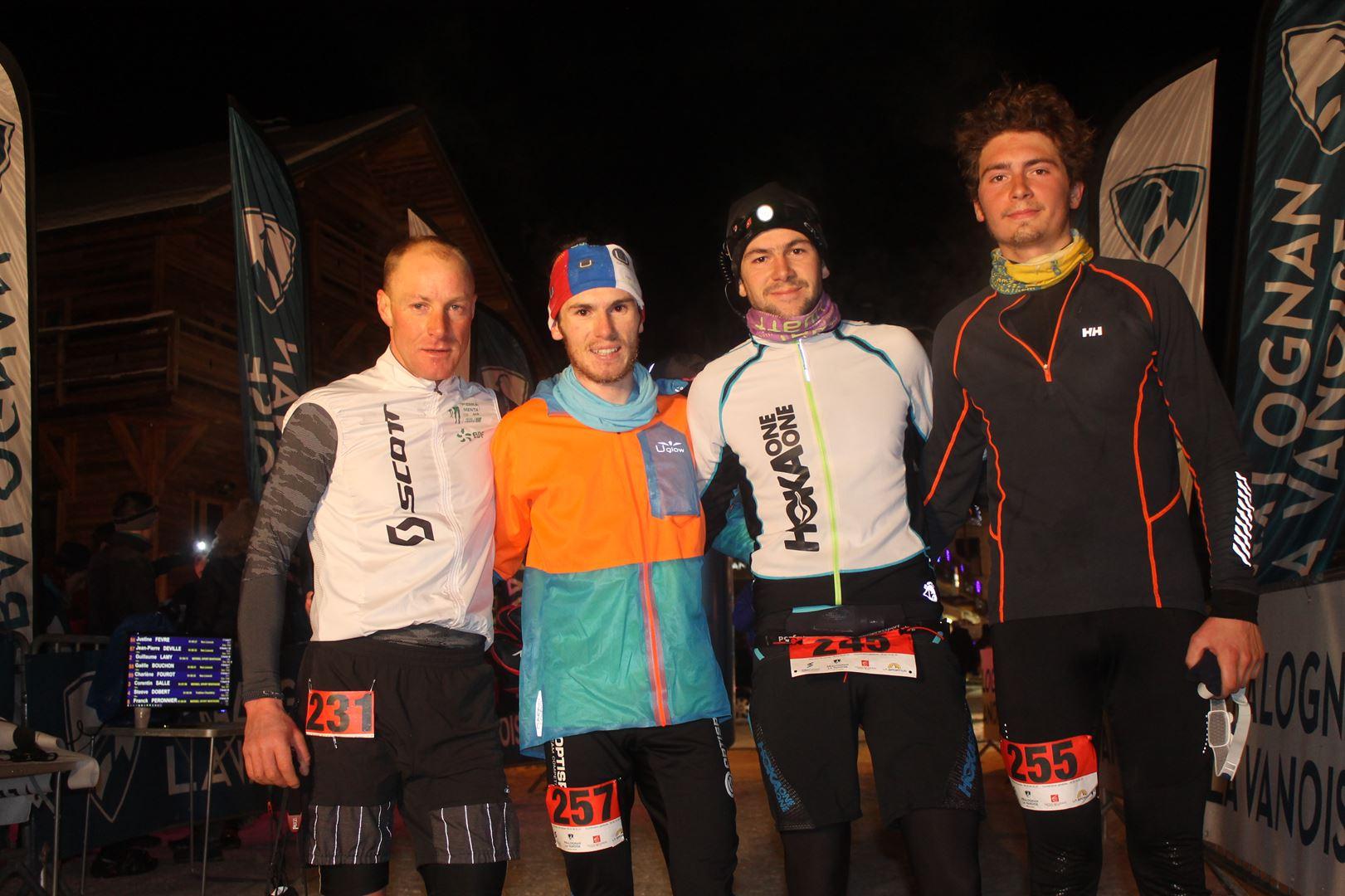 le quatuor gagnant du 16km - RESULTATS, COMMENTAIRES, PHOTOS DU TRAIL DE L'INUIT - PRALOGNAN LA VANOISE 73 - 21-01-2017
