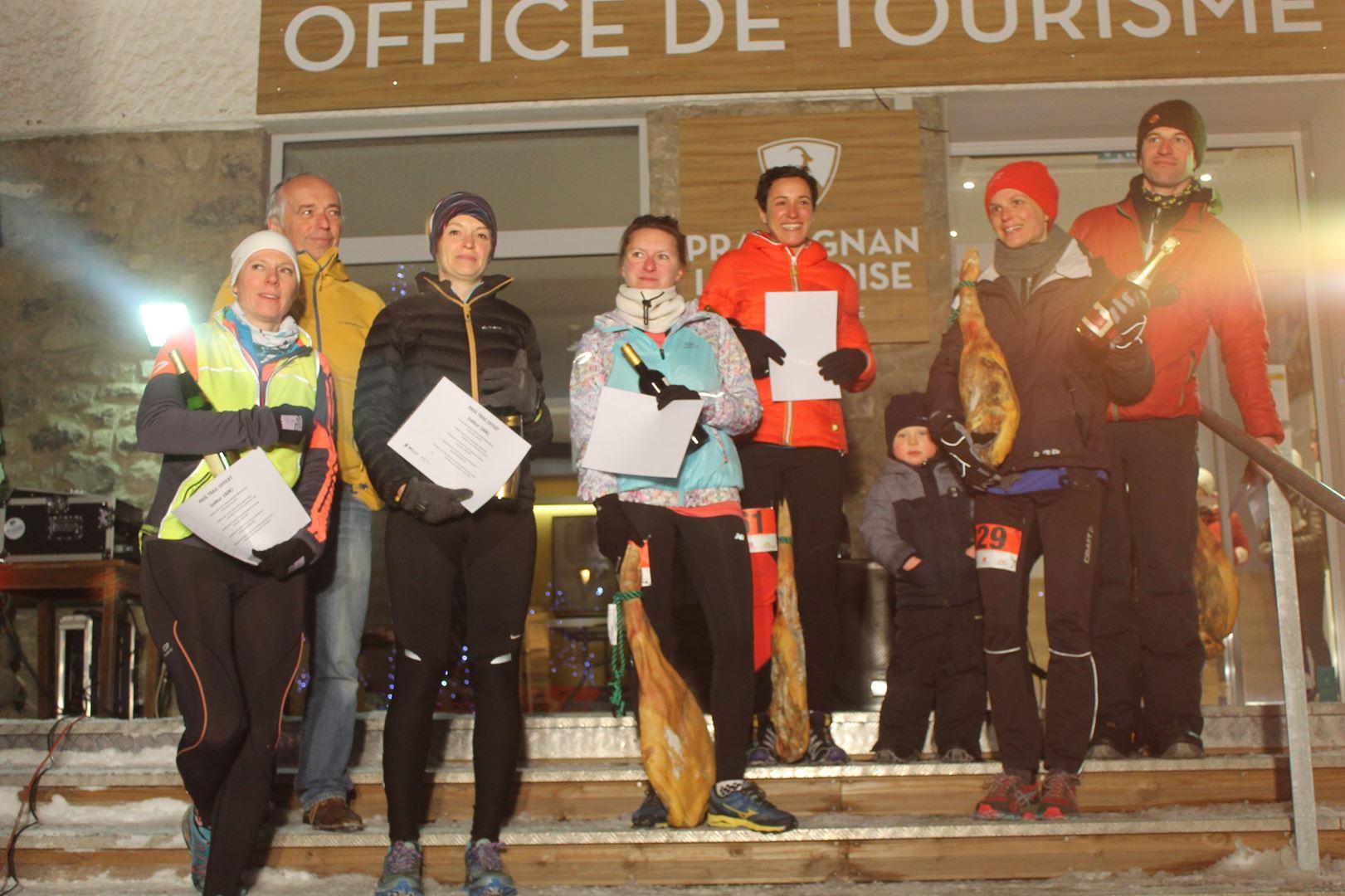 podium femmes du 16km - RESULTATS, COMMENTAIRES, PHOTOS DU TRAIL DE L'INUIT - PRALOGNAN LA VANOISE 73 - 21-01-2017