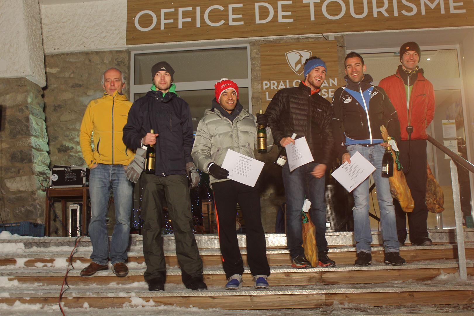podium hommes du 8km - RESULTATS, COMMENTAIRES, PHOTOS DU TRAIL DE L'INUIT - PRALOGNAN LA VANOISE 73 - 21-01-2017