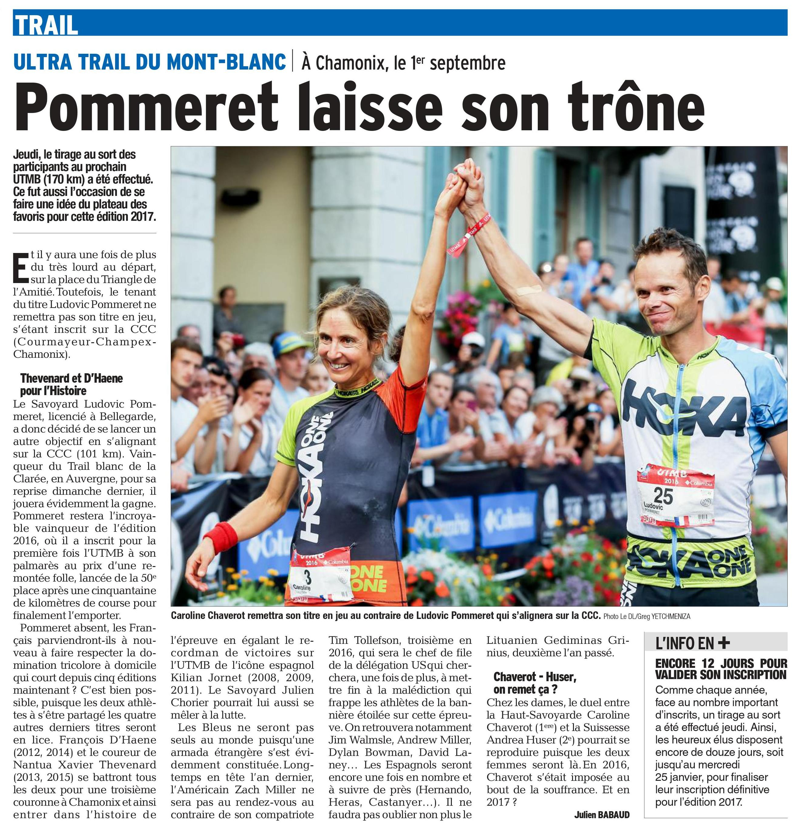 0001 - UTMB 2017 : l'article du Dauphiné libéré du 14-01-2017