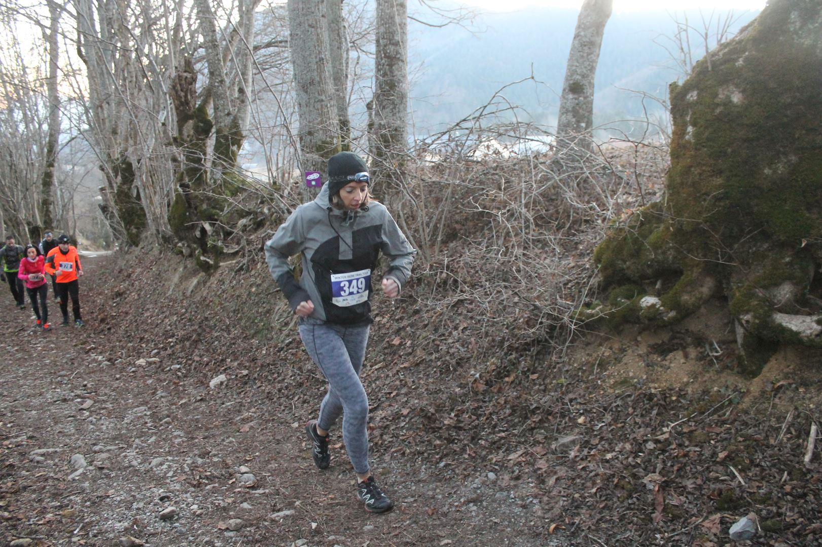 coureuse en sous bois - RESULTATS ET COMMENTAIRES DU TRAIL DU SAPPEY EN CHARTREUSE (38) -18-02-2017