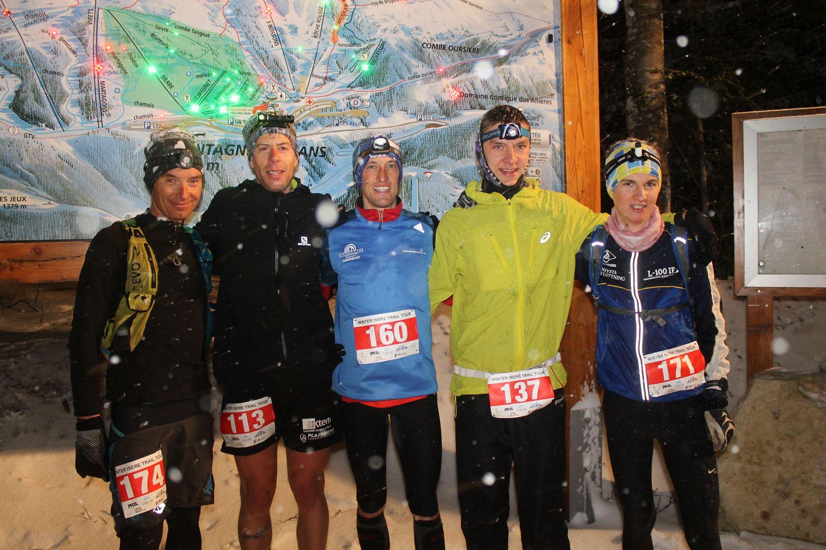 Les 5 premiers hommes du 16km à larrivée - RESULTATS , COMMENTAIRES ET PHOTOS DU TRAIL BLANC DE LANS EN VERCORS (38) 04-03-2017