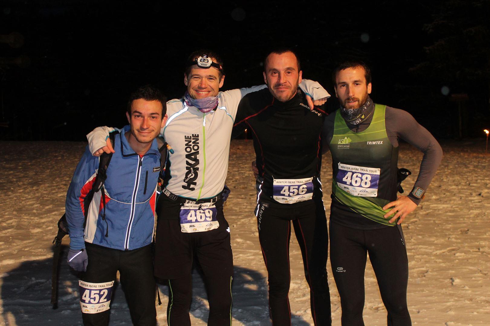les premiers hommes du 8km à larrivée - RESULTATS , COMMENTAIRES ET PHOTOS DU TRAIL BLANC DE LANS EN VERCORS (38) 04-03-2017