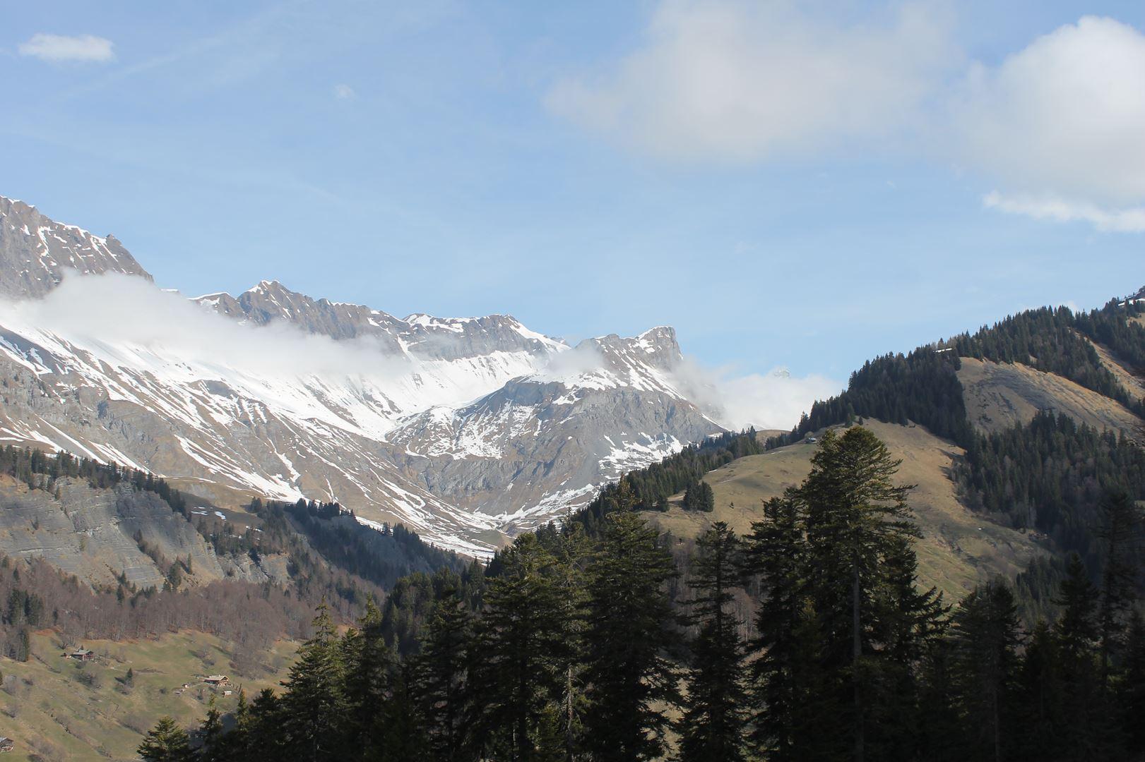 vue sur les montagnes - RESULTATS ET REPORTAGE SUR LA 8EME EDITION DE l'ARAVIS SNOW TRAIL  (LA GIETTAZ 73)
