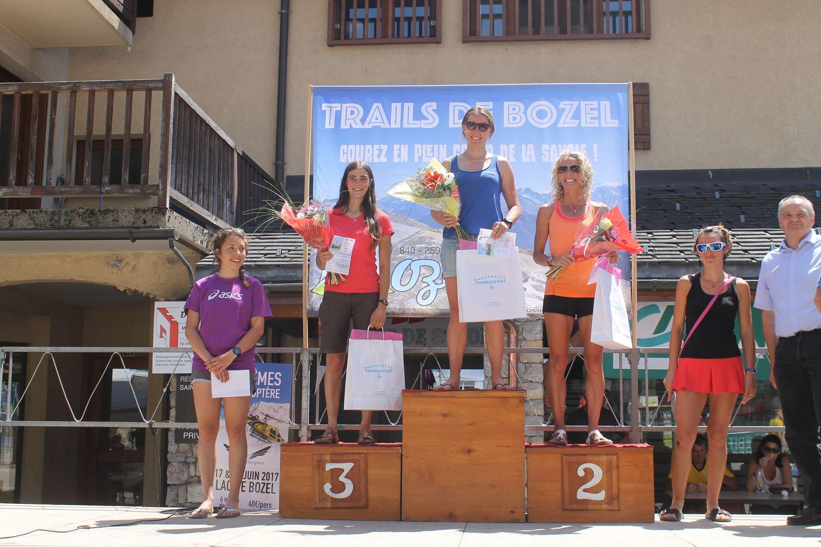 podium féminin 19km - RESULTATS ET PHOTOS DU TRAIL DE BOZEL (73)  18-06-2017