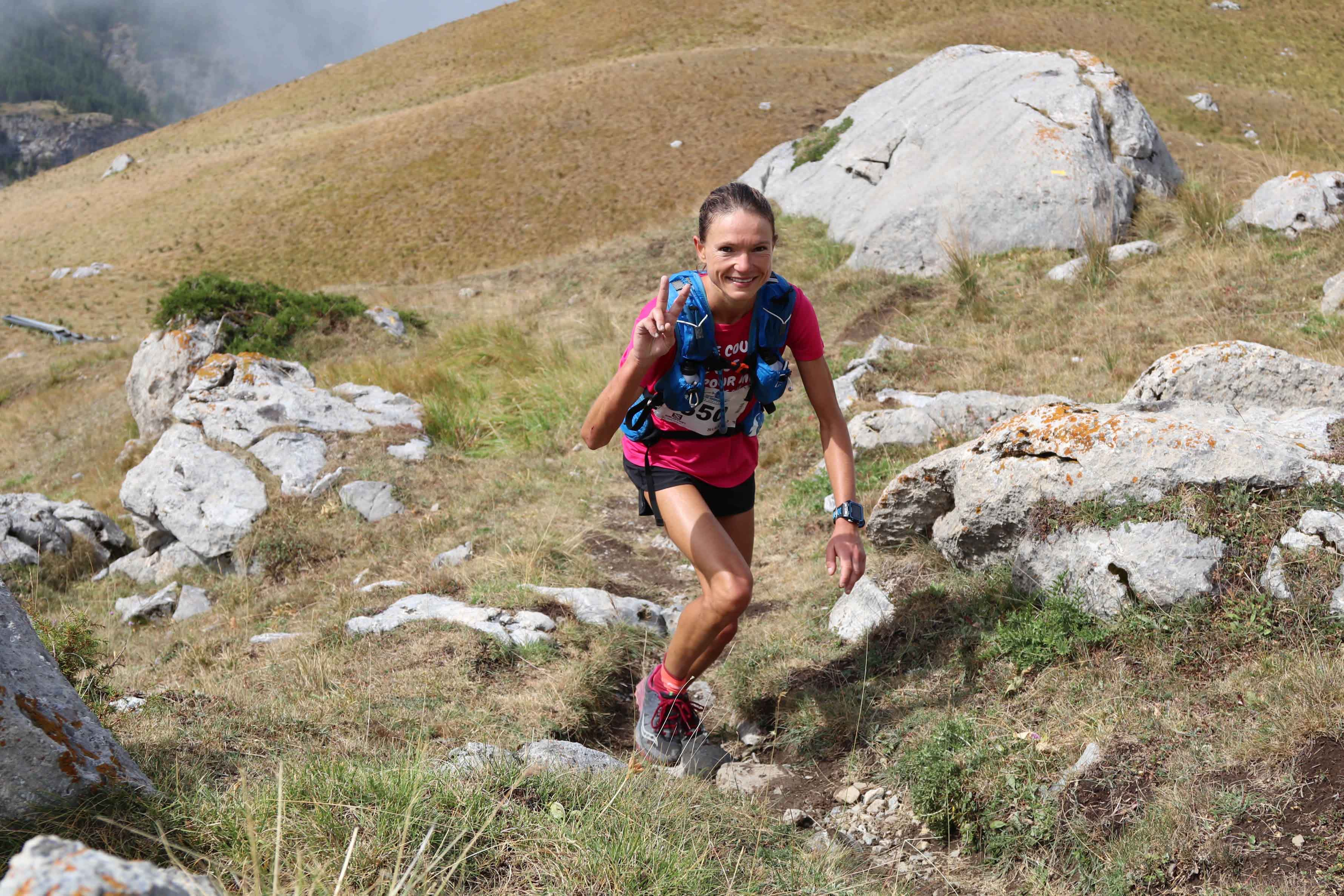 1 Maryline Nakache première 42 km photo Robert Goin - Juliet Champion, Mathieu Martinez et Romain Wyndaele, vainqueurs du Salomon Over the Mountain Running Challenge 2017