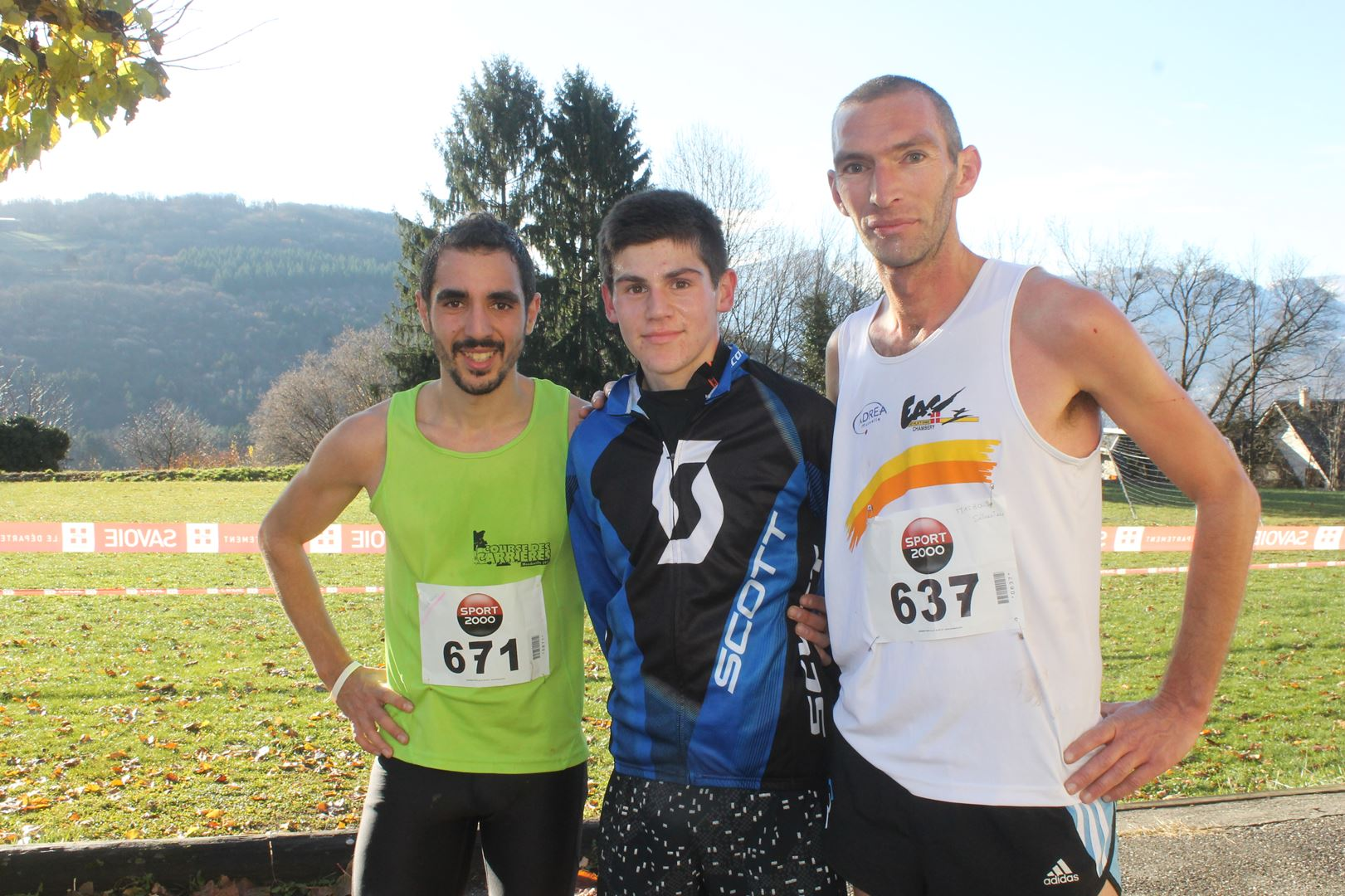 les 3 premiers hommes du 11km - RESULTATS ET COMPTE RENDU DE LA SANGERUN 26-11-2017 SAINT JEAN D'ARVEY (73)