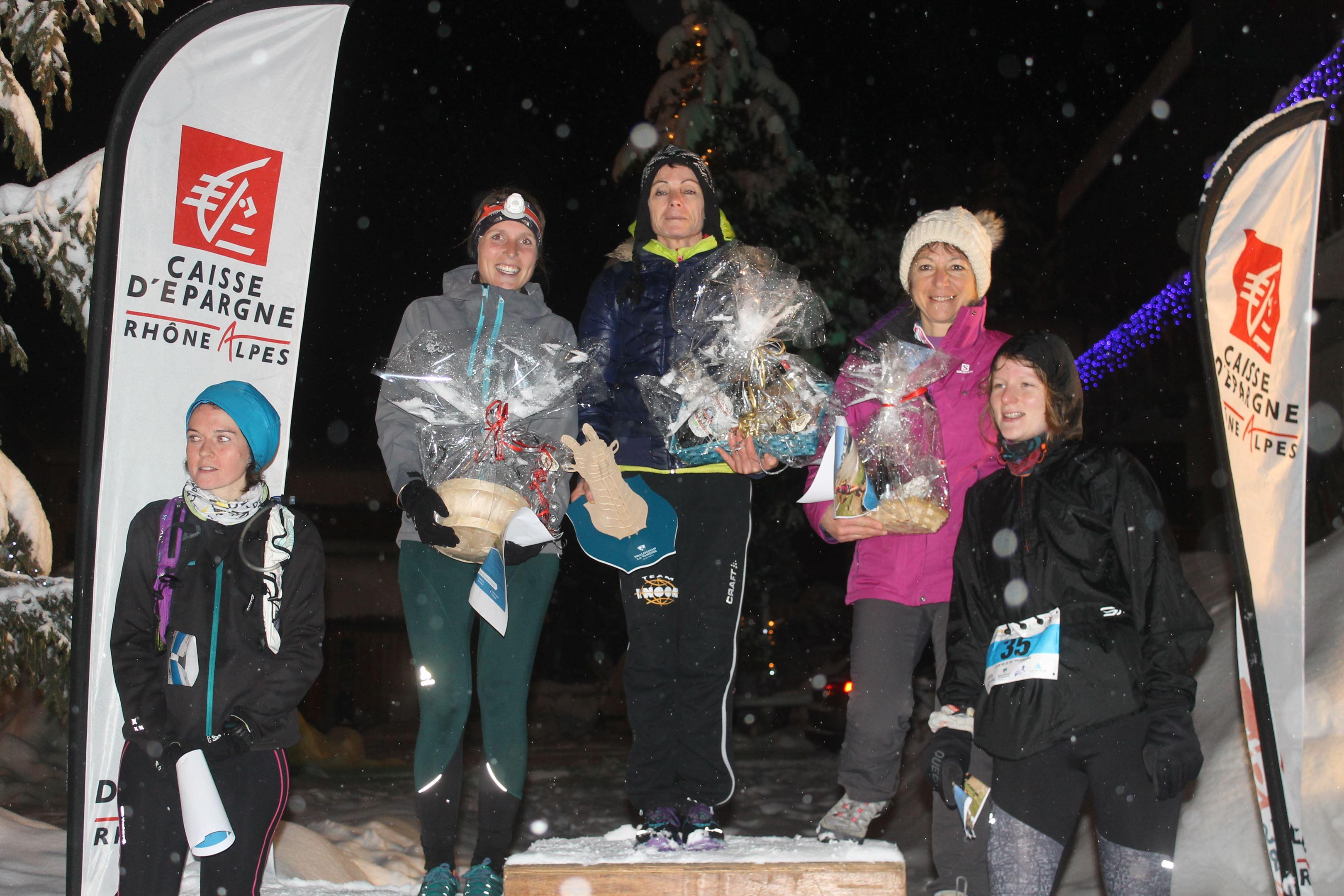 copie 0 podium filles du 14km - RESULTATS ET COMMENTAIRES DU TRAIL DE L'INUIT (PRALOGNAN-LA-VANOISE 73) 20/01/2018