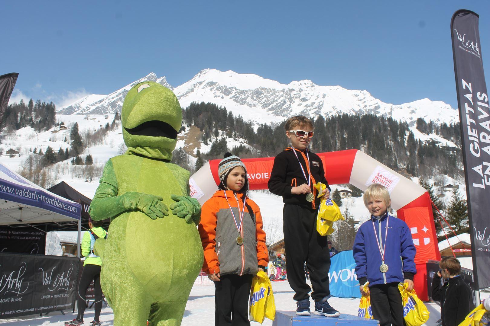 podium garçons trail des croés 6 à 8 ans 1 - RESULTATS PHOTOS ET COMPTE RENDU DU 9EME ARAVIS SNOW TRAIL (La Giettaz73) 25-03-2018