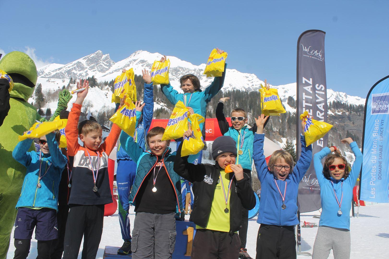 podium hommes trail des croés garçons 8 à 11 ans 1 - RESULTATS PHOTOS ET COMPTE RENDU DU 9EME ARAVIS SNOW TRAIL (La Giettaz73) 25-03-2018