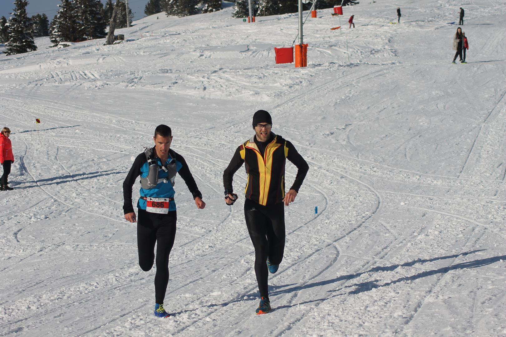 Julien Goyer à droite 3° du 16km - WITT: RESULTATS, PHOTOS ET COMPTE RENDU DU TRAIL BLANC DE CHAMROUSSE 01-04-2018