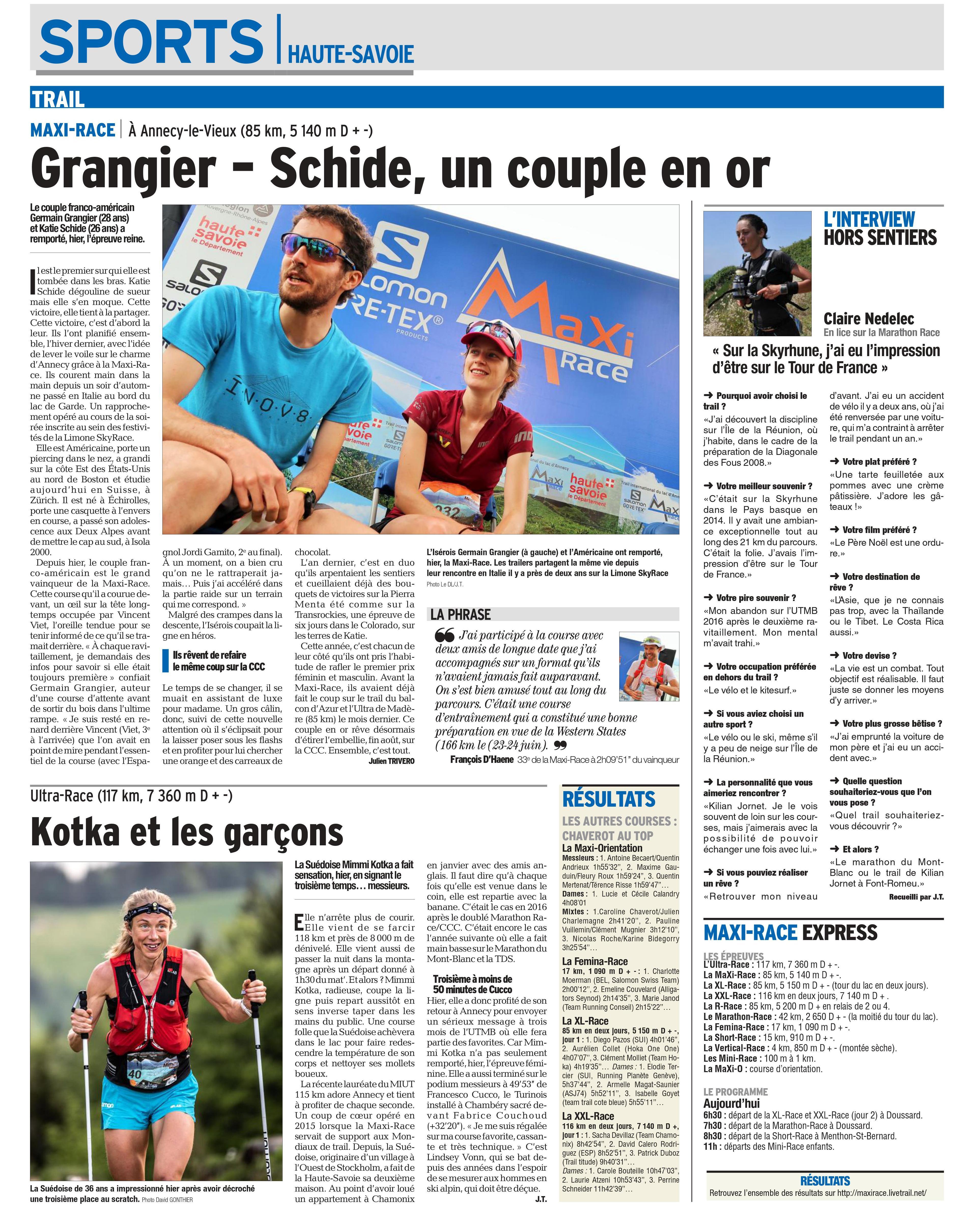 0001 1 1 - RESULTATS (et articles du Dauphiné Libéré) DE LA MAXI RACE 26/27-2018 (ANNECY 74)