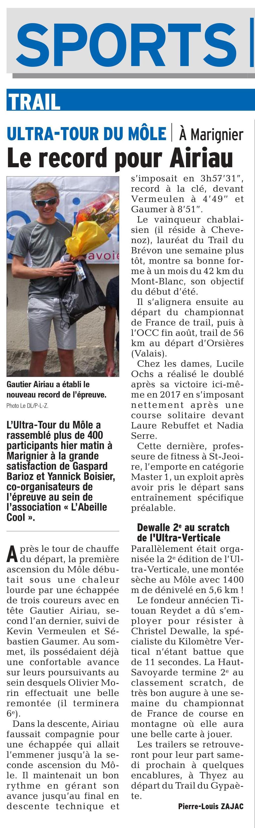 0001 2 - RESULTATS DE L'ULTRA TOUR DU MOLE 27-05-2018