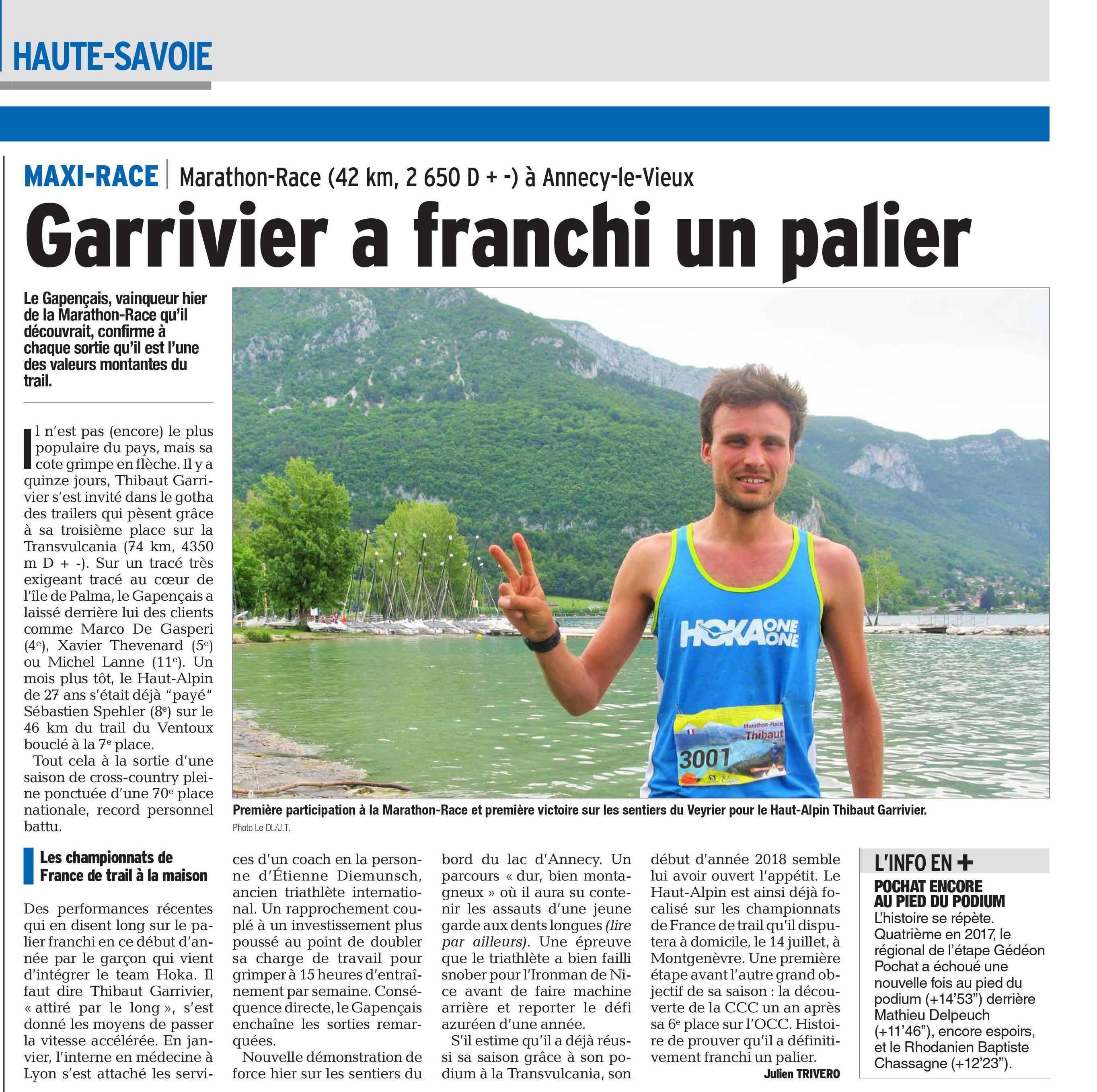 garrivier - RESULTATS (et articles du Dauphiné Libéré) DE LA MAXI RACE 26/27-2018 (ANNECY 74)