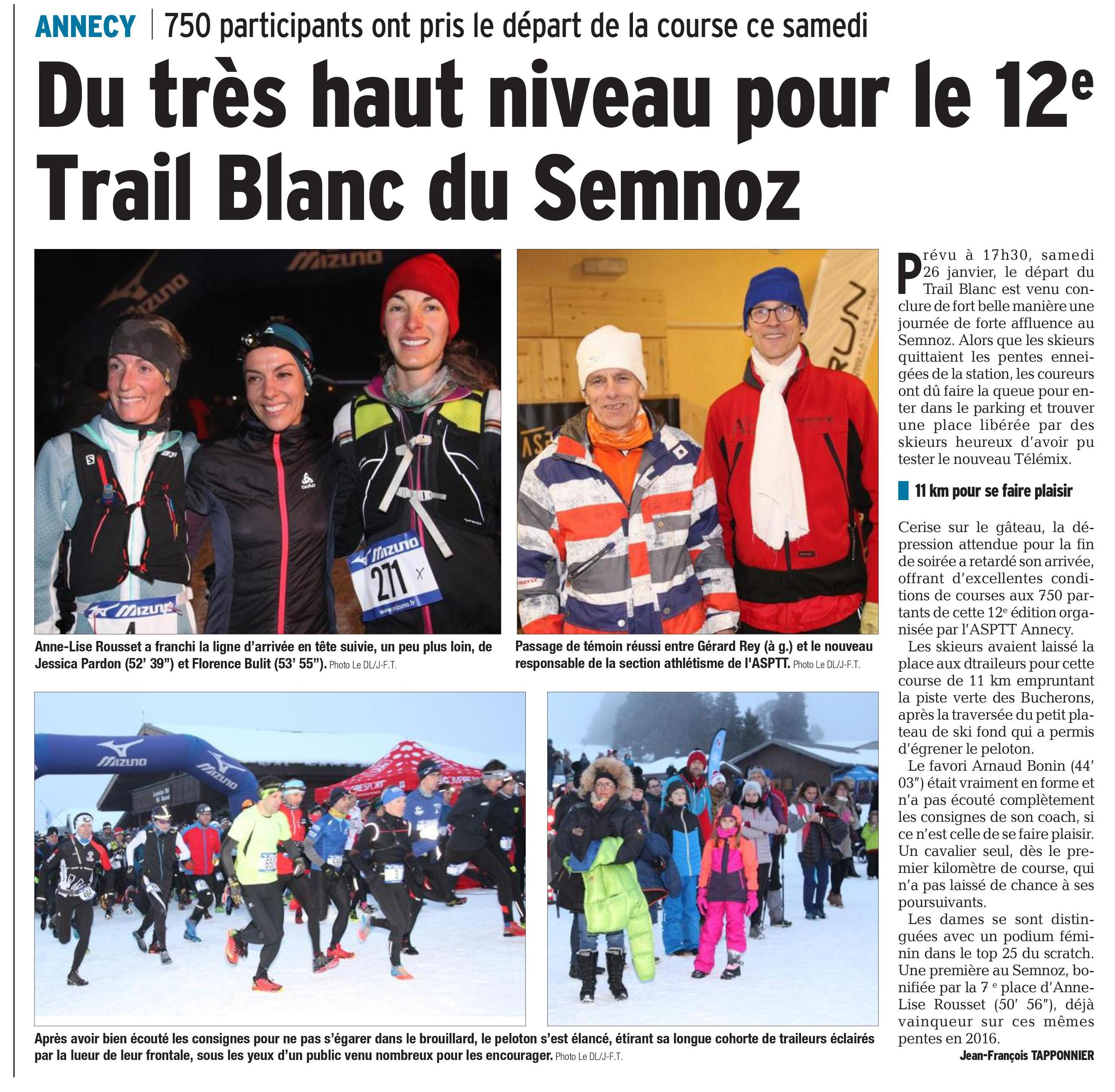 0001 3 - RÉSULTATS DU TRAIL BLANC DU SEMNOZ (74) 26/01/2019