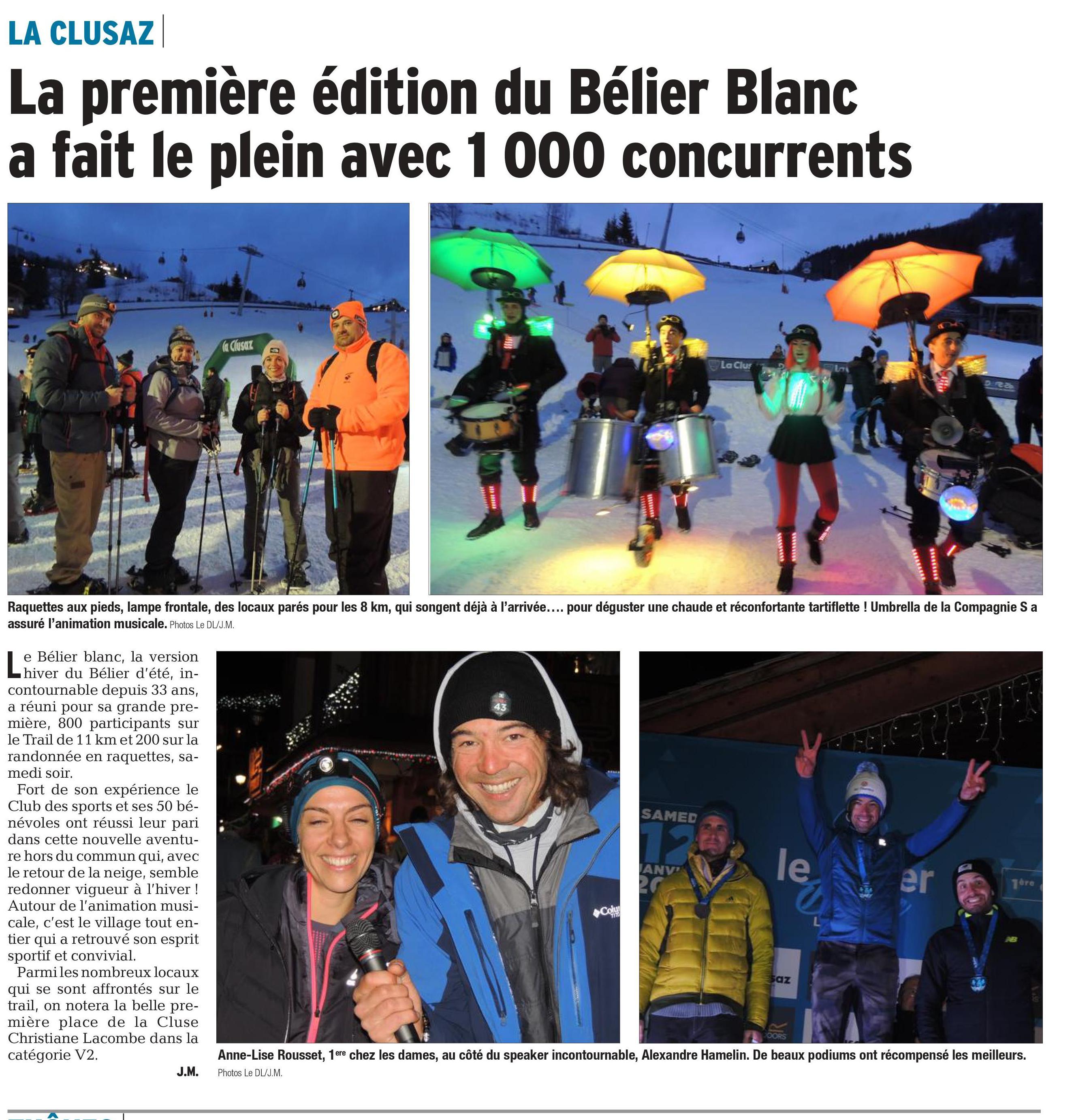 """0001 - SYLVAIN COURT S'IMPOSE SUR LE TRAIL """"BELIER BLANC"""" 12/01/2019 (LA CLUSAZ 74)"""
