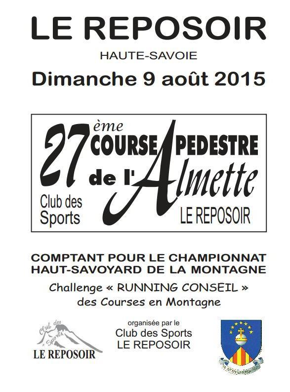 programme  almette 2015jpg2 Page1 - Course Pédestre de l'Almette au Reposoir (74) / 09-08-15