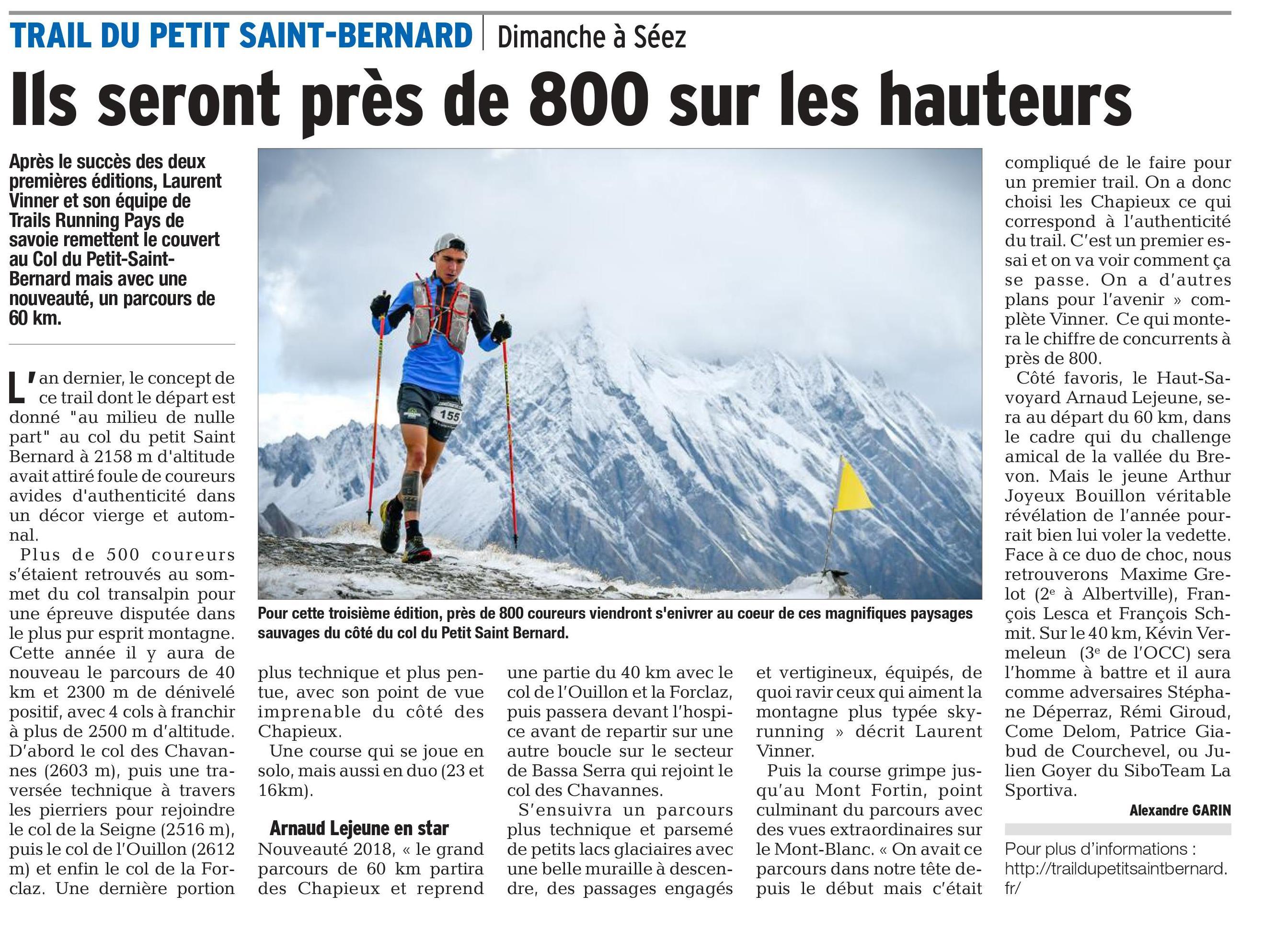 0001 - PRESENTATION DU TRAIL DU PETIT SAINT BERNARD 2018 (article du dauphiné 05/10/2018)